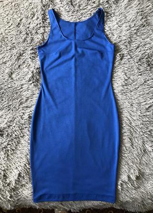 Синее базовое платье