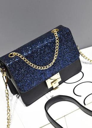 Нарядный черный клатч-сумочка с синими блестками и на золотистой цепочке!