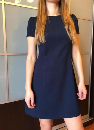 Платье синие платье короткое офисное сукня синя