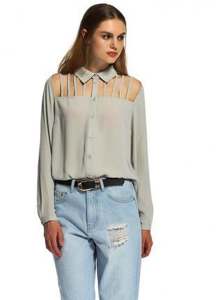 Распродажа! потрясающая трендовая рубашка блуза с перфорацией от lost ink