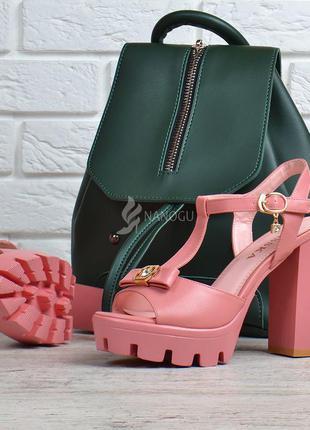 Босоножки женские на широком каблуке пудра розовые miss ka