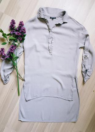Рубашка блуза блазка шифоновая фирменная ассиметричная с удлиненной спинкой