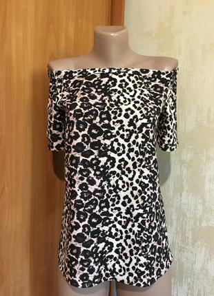 Леопардовая блуза с открытыми плечиками!