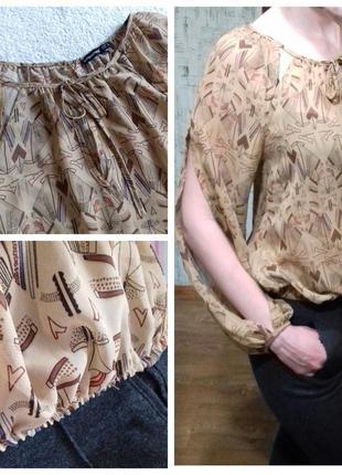 Легкая шифоновая блуза с принтом с разрезами на рукавах atmosphere