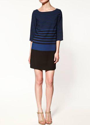 Базовое платье туника блуза в сине-черную полоску рукав 3/4 made in spania