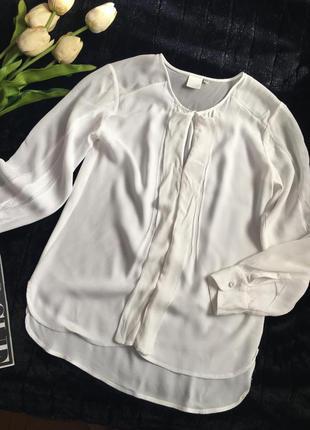 1188 оригинальная белоснежная блуза с широкими прозрачными вставками на рукавах