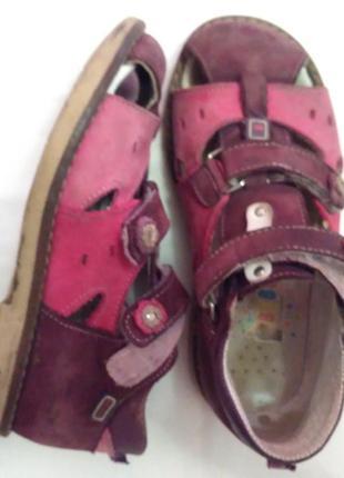 Ортопедические кожаные сандали веветом на девочку - 29 размер,19 см стелька
