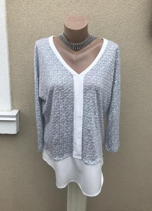 Легкая,трикотажная блузка льняная,кофточка комбинированная,лен 100%,большой размер