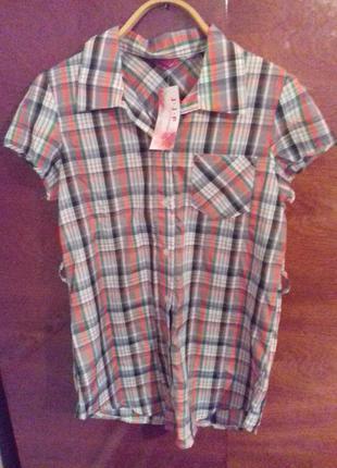 Рубашка новая с биркой блуза в клетку