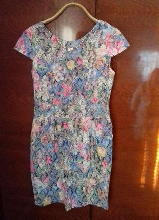 Платье летнее рисунок цветы как новое
