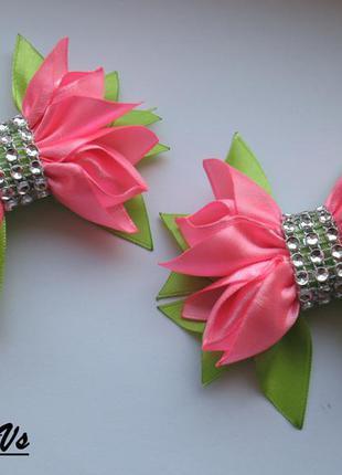 Заколочки с бантики с цветочков
