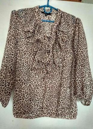 Блуза шифоновая в леопардовый принт