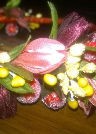 Обруч венок украинском стиле цветы украшение для волос ободок.