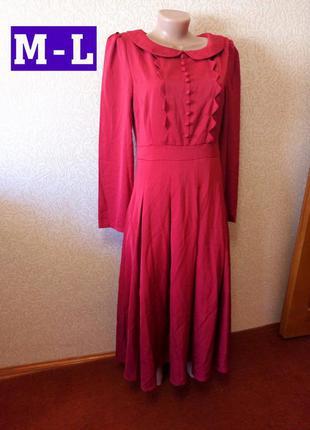 Красное платье марсала длинное в пол