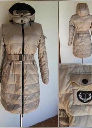 Фирменная качественная натуральная лёгкая тёплая куртка пальто пуховик.