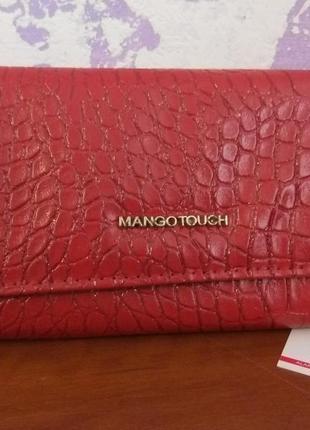 Большой женский кошелек красного цвета из зко кожи