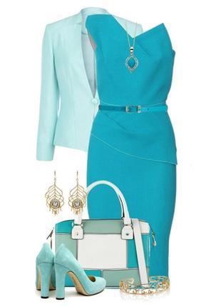 Нежно -голубое платье,бюстье