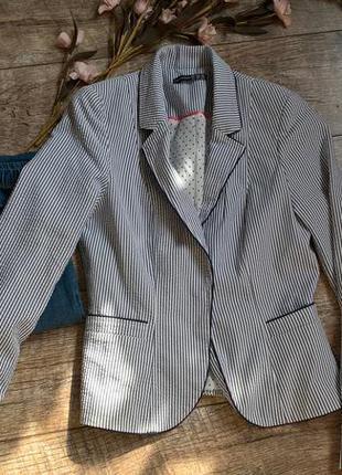 Кардиган,блейзер,летний пиджак в полоску/белый/от atmosphere-36(44)-s