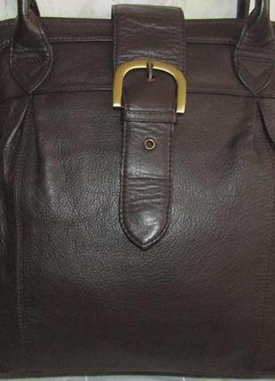 Большая , шикарная сумка 100 % кожа / f & f / индия