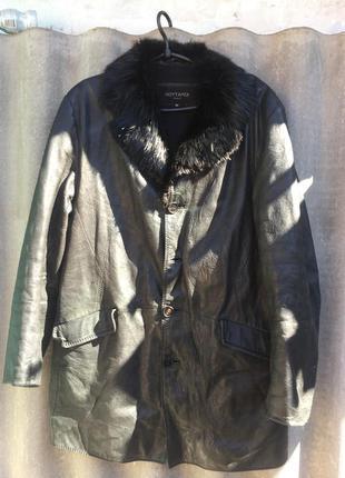 Куртка кожаная мужская с воротником из натурального меха