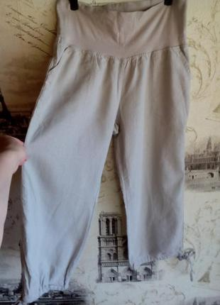 Льняные брюки капри для беременных