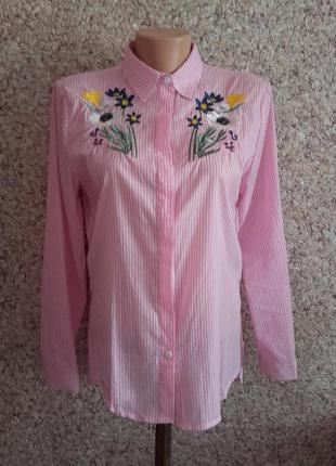 Блузка, рубашка с вышивкой ! размер м!