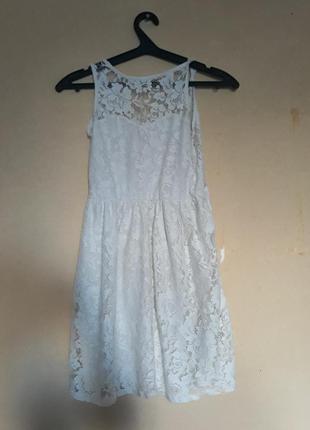 Кружевное гипюровое белое платье new look
