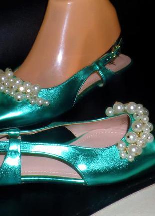 36  39 40 изумрудные туфельки с жемчугом h&m