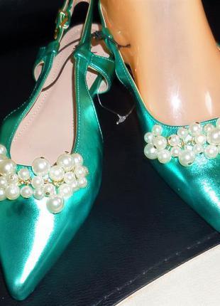 36  39  изумрудные туфельки с жемчугом h&m3 фото