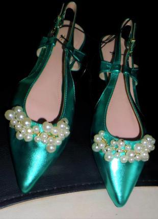 36  39  изумрудные туфельки с жемчугом h&m4 фото