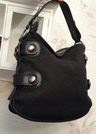 Брендовая стильная сумка   dkny original текстиль+кожа