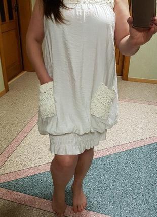 Белое летнее короткое платье с ажурными карманами rare