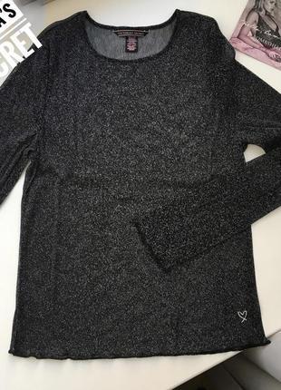 Черная прозрачная блуза victoria's secret с серебряной люрексовой нитью. длинный рукав,