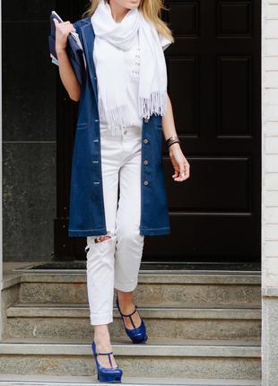 Удлиненный джинсовый жилет