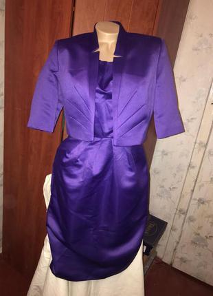 Шикарное вечернее атласное платье,комплект двойка атлас, вишукана сукня, плаття