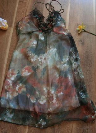 Нарядное воздушное шифоновое весеннее платье с цветочным принтом