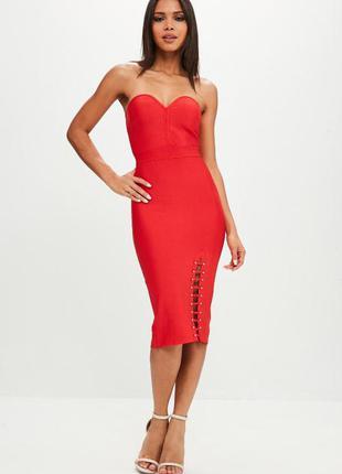 Красное платье, платье миди, супер цена