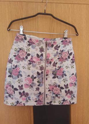 Джинсовая юбка с цветочным принтом h&m