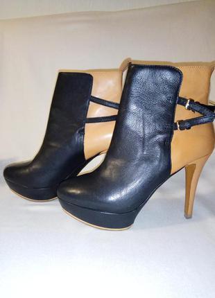 Zara зара демисезонные кожаные ботинки, ботильоны на каблуке