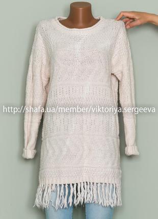 Большой выбор свитеров - теплый бежевый удлиненный свитер с бахромой, туника