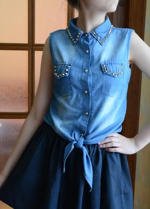 Стильная  джинсовая блузка от forever 21