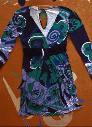 Трикотажное платье с длинным рукавом