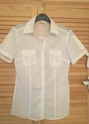 Рубашка белая с коротким рукавом oodji