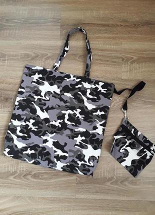 Торба с кошельком сумка шоппер в стиле милитари камуфляж