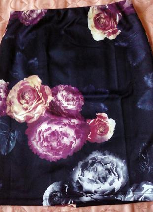 Юбка трикотажная, с цветочным принтом