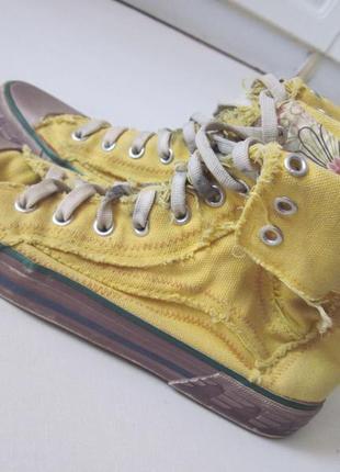Желтые кеды colin's высокие кеды с отворотами на шнурках