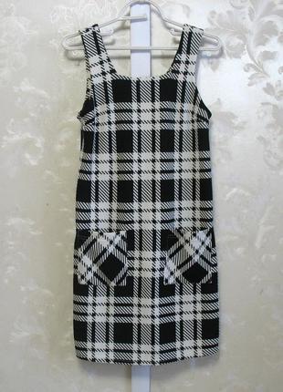 Клетчатое черно-белое платье (сарафан) с карманами atmosphere