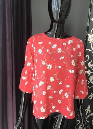 Блуза красная/ блуза в цветы