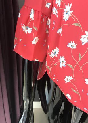 Блуза красная/ блуза в цветы3
