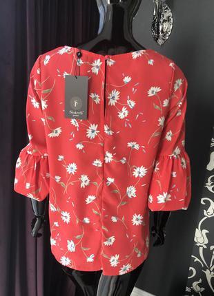Блуза красная/ блуза в цветы4